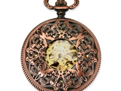 Mechanical Pocket Watch - Ornate Window - Antique Brass Finish