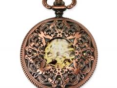 Mechanical Pocket Watch - Ornate Window - Antique Brass Finish