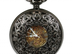 Ornate Window Mechanical Pocket Watch - Black Pearl Finish