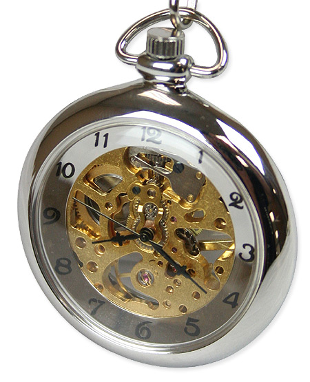 Mechanical Pocket Watch - Silver Mini Skeleton