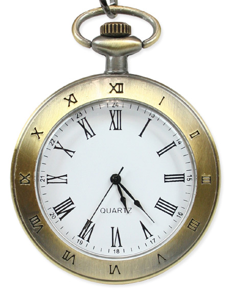 Deco Open Face Pocket Watch - Antique Gold