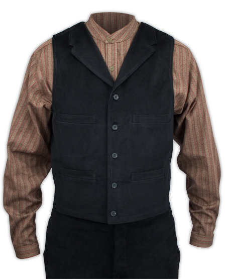 Victorian Old West Mens Vests Black Cotton Solid Work Matched Separates |Antique Vintage Fashioned Wedding Theatrical Reenacting Costume | Lawman
