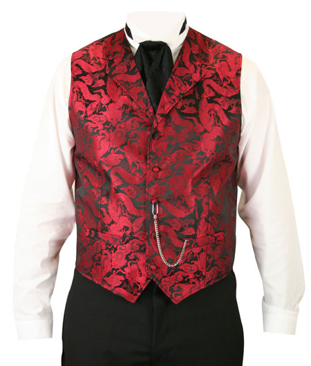 Victorian Old West Mens Vests Red Satin Synthetic Microfiber Print Dress |Antique Vintage Fashioned Wedding Theatrical Reenacting Costume | Fancy Jack the Ripper NYE Vampire