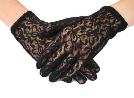 Victorian Old West Steampunk Ladies Accessories Black Synthetic Lace Floral Gloves |Antique Vintage Fashioned Wedding Theatrical Reenacting Costume |