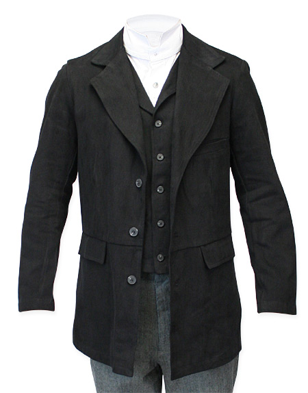 Victorian Old West Mens Coats Black Cotton Solid Town Matched Separates |Antique Vintage Fashioned Wedding Theatrical Reenacting Costume |