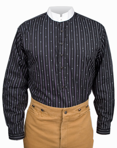 Victorian Old West Mens Shirts Black Cotton Stripe Dress |Antique Vintage Fashioned Wedding Theatrical Reenacting Costume |