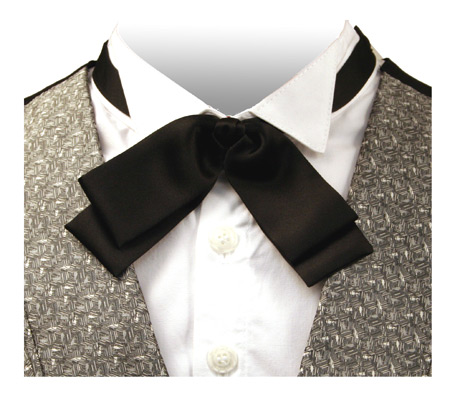 Victorian Old West Mens Ties Black Synthetic Satin Solid Bow |Antique Vintage Fashioned Wedding Theatrical Reenacting Costume |