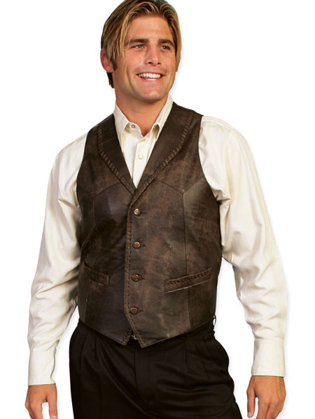 Old West Mens Vests Brown Leather Solid |Antique Vintage Fashioned Wedding Theatrical Reenacting Costume |