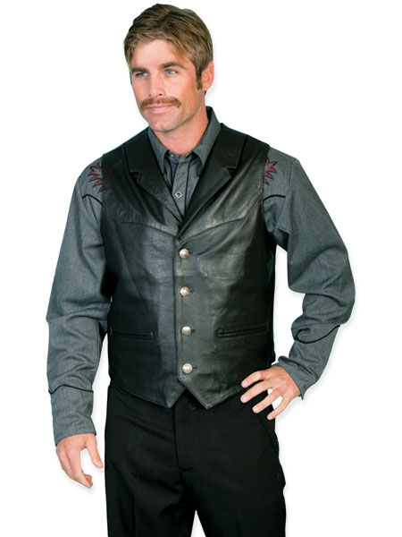 Old West Mens Vests Black Leather Solid |Antique Vintage Fashioned Wedding Theatrical Reenacting Costume |