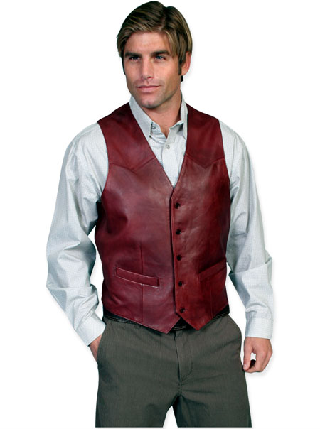Old West Mens Vests Burgundy Leather Solid |Antique Vintage Fashioned Wedding Theatrical Reenacting Costume |