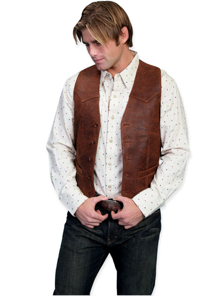 Old West Mens Vests Brown Leather Solid |Antique Vintage Fashioned Wedding Theatrical Reenacting Costume | Lawman