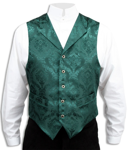 Victorian Old West Mens Vests Green Satin Synthetic Microfiber Floral Dress |Antique Vintage Fashioned Wedding Theatrical Reenacting Costume |