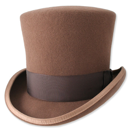 Victorian Steampunk Mens Hats Brown Wool Felt Top |Antique Vintage Old Fashioned Wedding Theatrical Reenacting Costume |