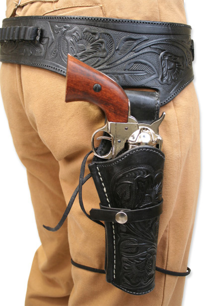 Victorian Old West Holsters and Gunbelts Black Leather Tooled Gunbelt Holster Combos |Antique Vintage Fashioned Wedding Theatrical Reenacting Costume | Lawman