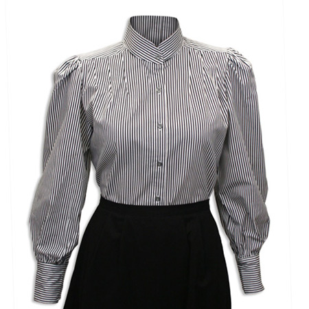 Victorian Old West Ladies Blouses Gray Black White Cotton Stripe Matched Separates Traditional Fit |Antique Vintage Fashioned Wedding Theatrical Reenacting Costume | Dickens