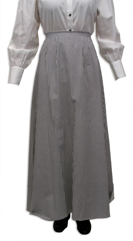 Victorian Old West Ladies Skirts Gray Black White Cotton Stripe Dress Work Matched Separates |Antique Vintage Fashioned Wedding Theatrical Reenacting Costume |