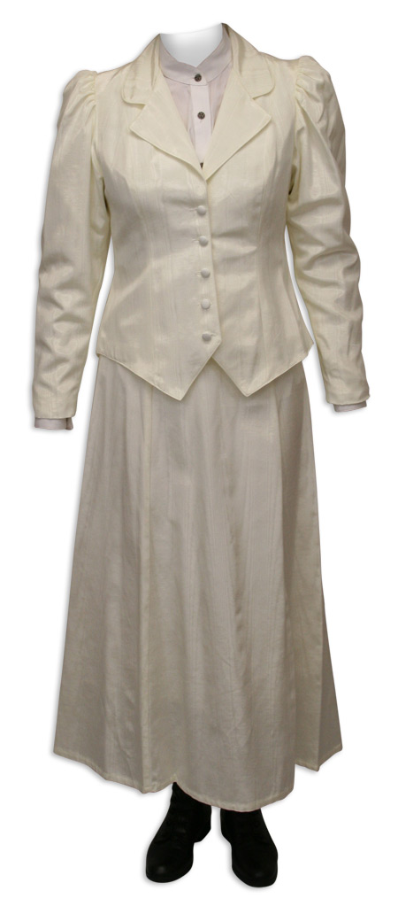Victorian Old West Ladies Coats Ivory Cotton Blend Solid Outing Jackets Suit Separates |Antique Vintage Fashioned Wedding Theatrical Reenacting Costume |