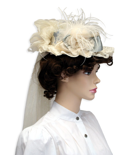 Victorian Old West Ladies Hats Ivory Blue Straw Lace Boaters |Antique Vintage Fashioned Wedding Theatrical Reenacting Costume |