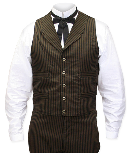 Victorian Old West Steampunk Mens Vests Brown Blue Cotton Stripe Dress Work Matched Separates |Antique Vintage Fashioned Wedding Theatrical Reenacting Costume |