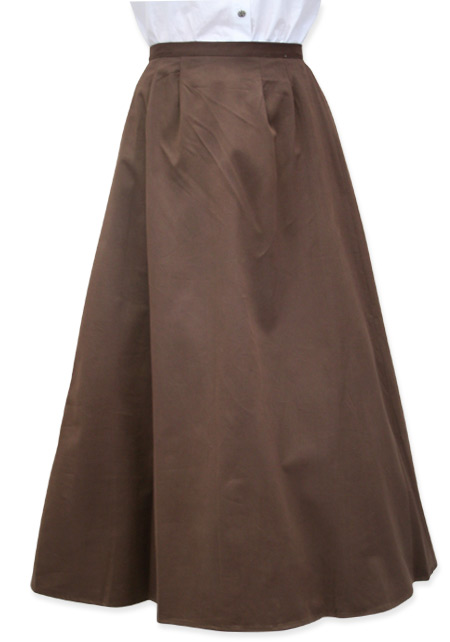 Victorian Old West Ladies Skirts Brown Cotton Solid Dress Work |Antique Vintage Fashioned Wedding Theatrical Reenacting Costume |