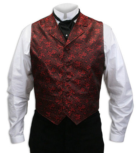 Victorian Old West Mens Vests Red Satin Synthetic Microfiber Print Dress |Antique Vintage Fashioned Wedding Theatrical Reenacting Costume | Dragon Phantom and Christine