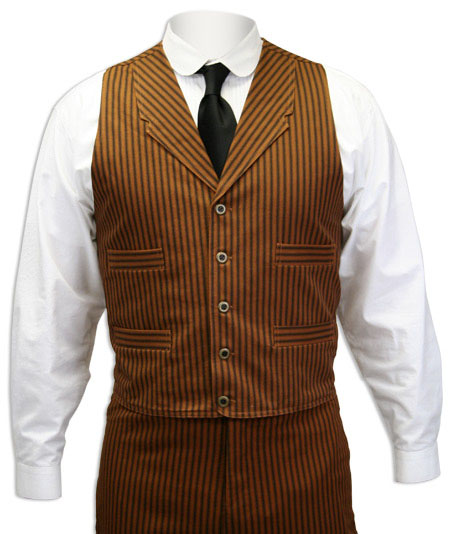 Victorian Old West Steampunk Mens Vests Brown Cotton Stripe Dress Work Matched Separates |Antique Vintage Fashioned Wedding Theatrical Reenacting Costume |