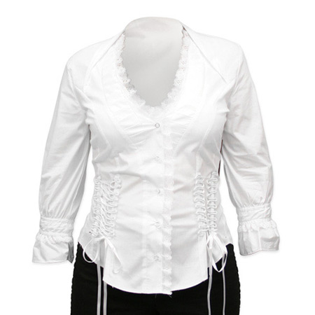 Victorian Old West Steampunk Ladies Blouses White Cotton Blend Lace Solid Fitted |Antique Vintage Fashioned Wedding Theatrical Reenacting Costume |