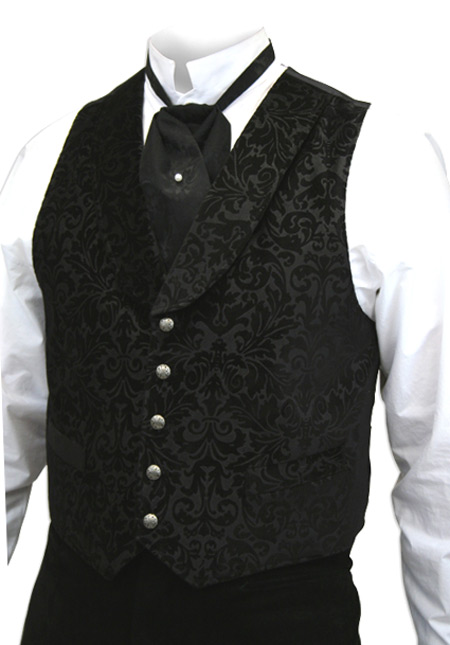 Victorian Old West Mens Vests Black Cotton Velvet Print Dress |Antique Vintage Fashioned Wedding Theatrical Reenacting Costume | Luxury Gifts for Him