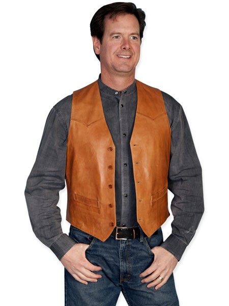 Old West Mens Vests Brown Tan Leather Solid |Antique Vintage Fashioned Wedding Theatrical Reenacting Costume |