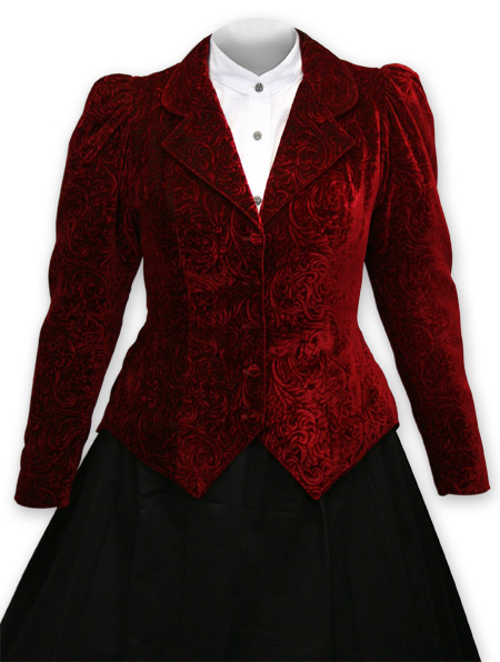 Victorian Old West Ladies Coats Red Synthetic Velvet Floral Outing Jackets |Antique Vintage Fashioned Wedding Theatrical Reenacting Costume |