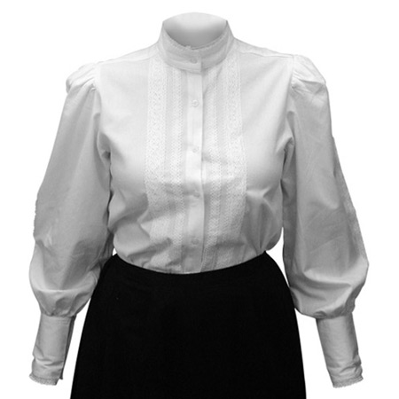 Victorian Old West Steampunk Ladies Blouses White Cotton Solid Traditional Fit |Antique Vintage Fashioned Wedding Theatrical Reenacting Costume | Dickens Motorist Nanny and Chimneysweep Suffragist