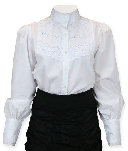 Victorian Old West Ladies Blouses White Cotton Solid Traditional Fit |Antique Vintage Fashioned Wedding Theatrical Reenacting Costume | Dickens Suffragist Nanny and Chimneysweep