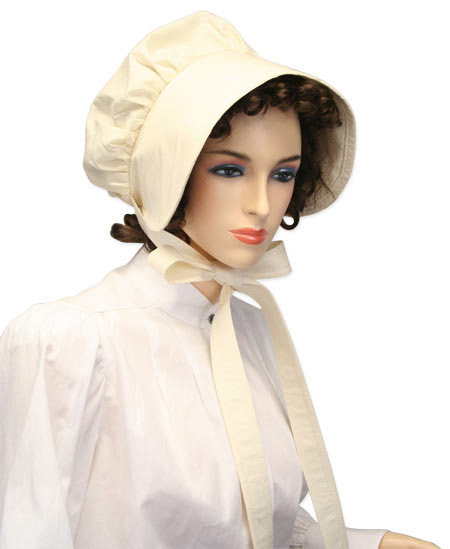 Victorian Old West Ladies Hats Ivory Muslin Bonnets |Antique Vintage Fashioned Wedding Theatrical Reenacting Costume |