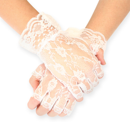 Victorian Old West Ladies Accessories White Synthetic Lace Floral Gloves |Antique Vintage Fashioned Wedding Theatrical Reenacting Costume | Dickens