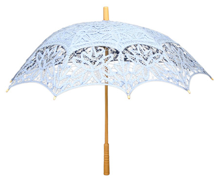 Victorian Old West Ladies Parasols Blue Cotton Lace Lacy |Antique Vintage Fashioned Wedding Theatrical Reenacting Costume |