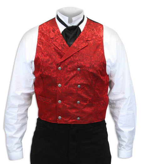 Victorian Old West Mens Vests Red Silk Floral Dress |Antique Vintage Fashioned Wedding Theatrical Reenacting Costume | Dickens
