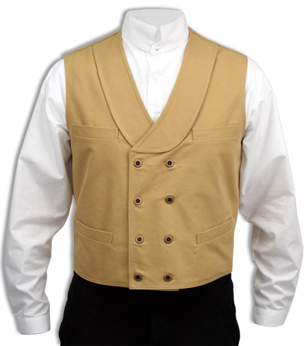 Victorian Old West Steampunk Mens Vests Yellow Cotton Solid Work |Antique Vintage Fashioned Wedding Theatrical Reenacting Costume |