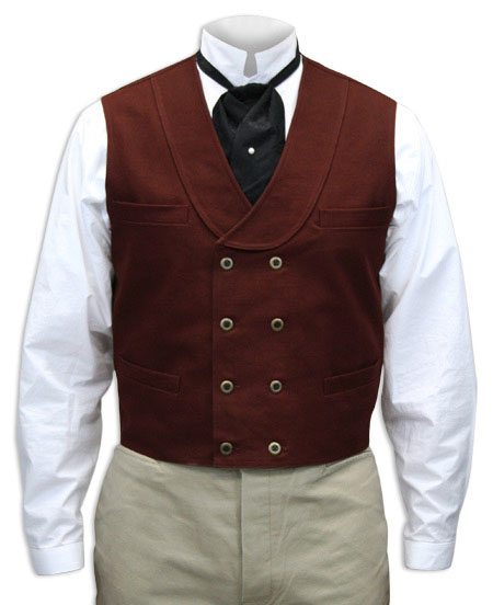 Victorian Old West Steampunk Mens Vests Red Cotton Solid Dress |Antique Vintage Fashioned Wedding Theatrical Reenacting Costume |