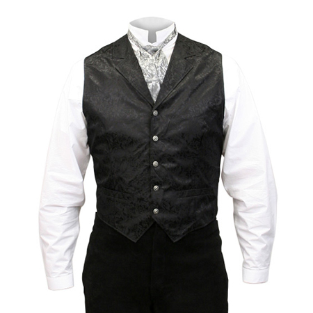 Victorian Old West Mens Vests Black Silk Floral Dress |Antique Vintage Fashioned Wedding Theatrical Reenacting Costume |