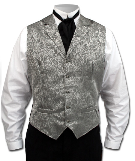 Victorian Old West Mens Vests Gray Silk Floral Dress |Antique Vintage Fashioned Wedding Theatrical Reenacting Costume | Lawman