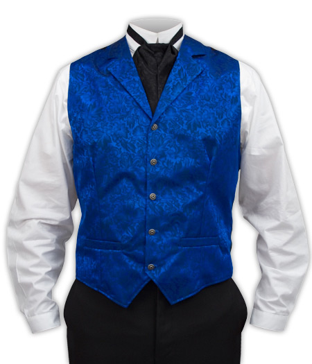 Victorian Old West Mens Vests Blue Silk Floral Dress |Antique Vintage Fashioned Wedding Theatrical Reenacting Costume |