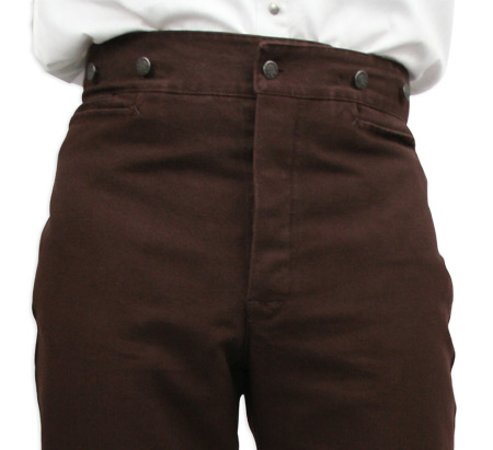 Victorian Old West Mens Pants Brown Cotton Solid Work |Antique Vintage Fashioned Wedding Theatrical Reenacting Costume |