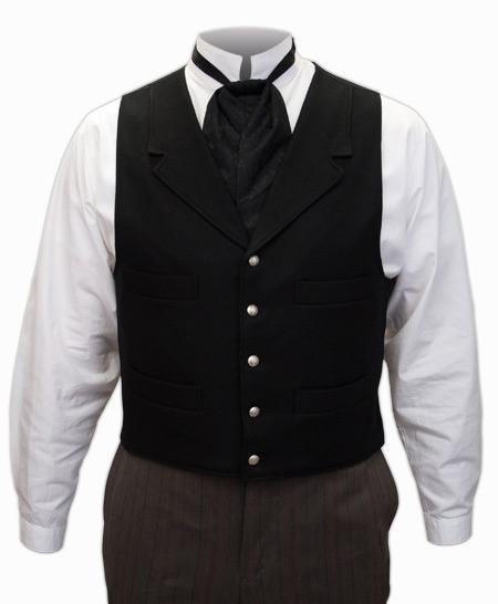 Victorian Old West Mens Vests Black Wool Solid Dress |Antique Vintage Fashioned Wedding Theatrical Reenacting Costume |