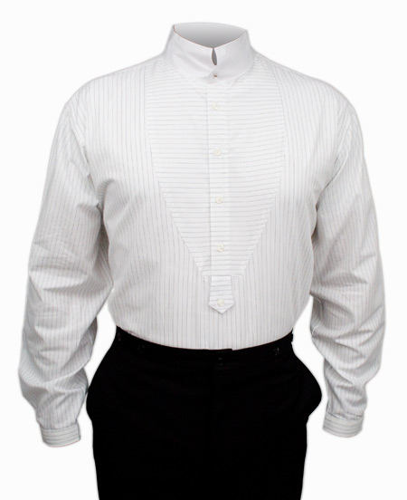 Victorian Old West Mens Shirts White Cotton Stripe Dress |Antique Vintage Fashioned Wedding Theatrical Reenacting Costume |