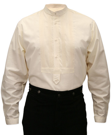Victorian Old West Mens Shirts Ivory Cotton Solid Dress Tuxedo |Antique Vintage Fashioned Wedding Theatrical Reenacting Costume |