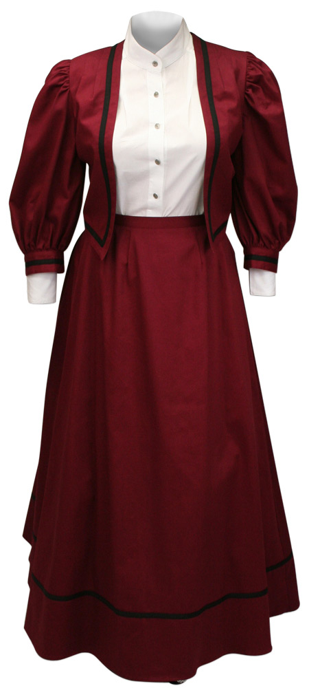 Victorian Old West Ladies Dresses and Suits Burgundy Synthetic Solid |Antique Vintage Fashioned Wedding Theatrical Reenacting Costume |