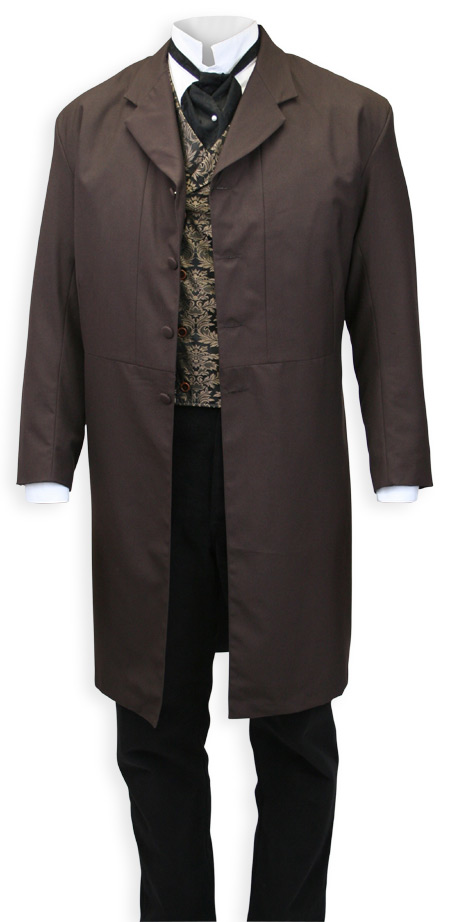 Victorian Old West Steampunk Mens Coats Brown Synthetic Solid Frock Matched Separates |Antique Vintage Fashioned Wedding Theatrical Reenacting Costume |