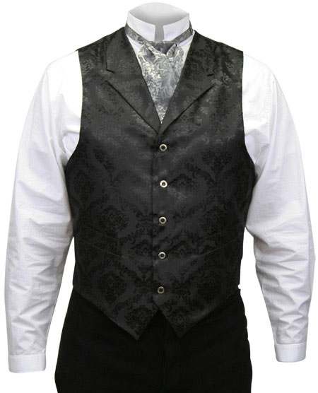 Victorian Old West Mens Vests Black Satin Synthetic Microfiber Floral Dress |Antique Vintage Fashioned Wedding Theatrical Reenacting Costume |