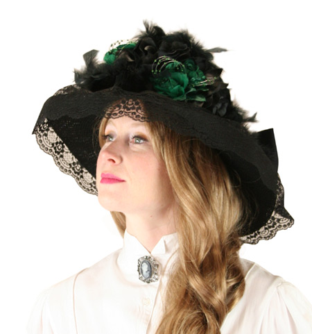 Victorian Old West Ladies Hats Green Straw Lace Touring |Antique Vintage Fashioned Wedding Theatrical Reenacting Costume |