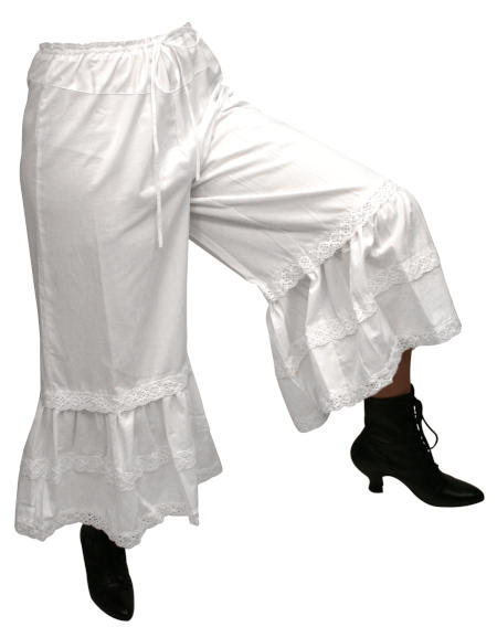 Victorian Old West Ladies Lingerie White Cotton Solid Bloomers |Antique Vintage Fashioned Wedding Theatrical Reenacting Costume |
